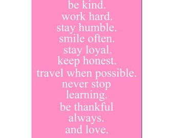 Dorm Decor Teen Wall Art Girl Life Rules - Inspirational Quote Print - Gift for Teen - CHOOSE YOUR COLORS - Shown in Pink and White