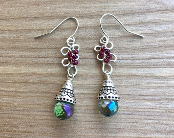 Silver drop earrings with onion briolettes and wire detail, crystal beads, gifts for her