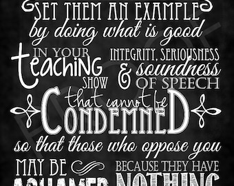 Scripture Art - Titus 2:7-8 Chalkboard Style