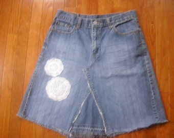 Hippie Gypsy Boho Altered Couture Recycle Levi Blue Jean Skirt