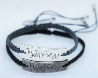 Together forever matching couple bracelet, valentine present, friendship bracelet