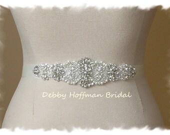 Pearl Crystal Wedding Dress Sash, Rhinestone Crystal Pearl Bridal Sash, Pearl Rhinestone Wedding Belt, Jeweled Pearl Sash, No 4060S, SALE