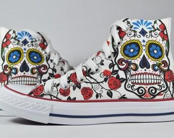 Skull Mexican Calavera Catrina custom converse / custom shoes