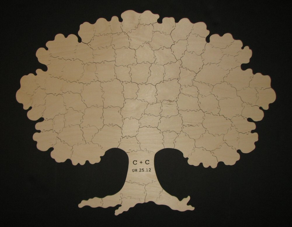 80 pc wooden tree puzzle guest book hand cut for wedding