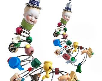 Tyler Tornado, original mixed media assemblage, art doll ornament, TORNADO boy, by Elizabeth Rosen