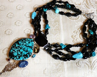 Statement Multi Strand Statement Necklace with Dramatic Turquoise and Onyx Pendant