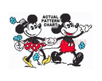 Vintage Mickey Mouse Cross Stitch, Mickey and Minnie, Disney Cross Stitch, Needlepoint, Mickey Mouse, Minnie by NewYorkNeedleworks on Etsy