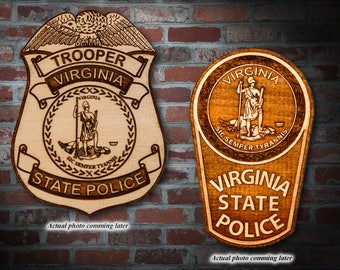 Personalized Wooden Virginia State Police Badge or Patch Plaque