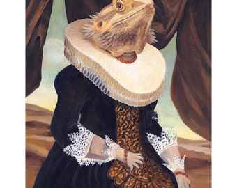 Bearded Dragon, Prints, Mrs. Spike, Bearded Dragon Clothes, Lizard Gifts