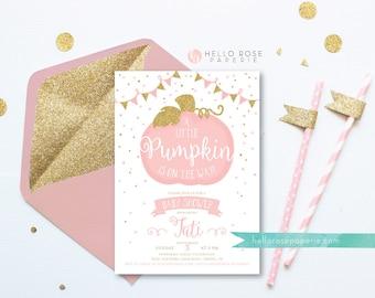 Little Pumpkin on the Way Invitation . Pumpkin Girl Baby Shower Invitation . Little Pumpkin Printable . Pink and Gold . Digital Download