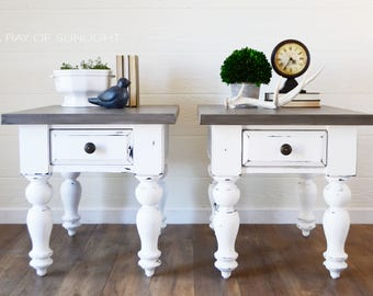Attrayant SOLD White Farmhouse End Tables, Weathered Wood Painted Top, Large Side  Tables, Neutral Nightstand, Pair Of Tables, Bedroom, Painted
