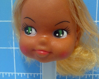 """Vinyl Girl Doll Head with Blonde Rooted Hair, Green Eyes. 3"""" Tall with 3/4"""" Neck"""