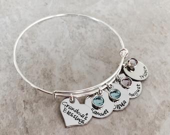 Personalized grandmas blessings bracelet for grandma grandma's blessings kids names and children's birthstones mothers bracelet mom bangle