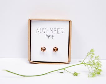 Rose gold birthsthone studs - November Birthstone Studs - Topaz Birthstone Earrings - Birthstone Jewelry - Birthstone Ear Studs