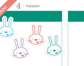 Buttercup the bunny stickers –spring stickers, easter stickers, planner stickers, bunny stickers – 18 MINI size stickers