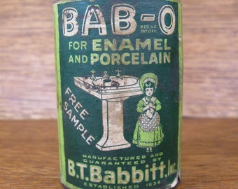 Vintage B.T. Babbitt BAB-O Enamel Cleaner Free Sample Coin Savings Bank with Paper Label Little Girl Next to Antique Sink NY
