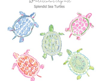 Splendid Sea Turtles Clip Art Collection - Watercolor Clip Art  - Sea Turtles - Bull Dog Clip Art - Scrapbooking  - Printable - Turtles