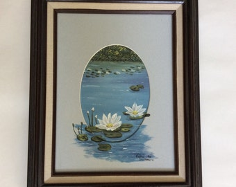 Vintage Wall Art/ Water Lilies Painting/ Oil on Canvas Painting by Vickie Nakamura/ Circa 1990/ Vintage Home Decor/