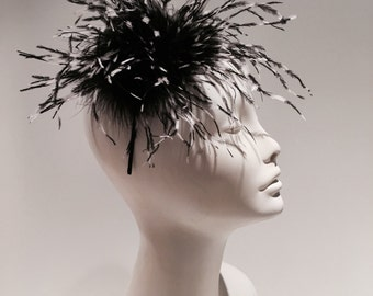 Black Fascinator- Feather fascinator- Derby Hat- Wedding Fascinator- Black and White fascinator- Feather hair Accessory- Made in USA- Black