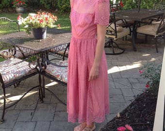 Dusty Rose Vintage Formal Dress, X Small, Sheer Lace Bodice