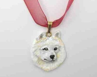 Dog Breed SAMOYED Handpainted Clay Necklace/Pendant Artist Painted