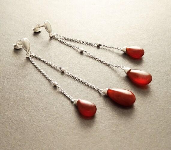 Red Teardrop Earrings - Sterling Silver Earrings - Chain Earrings - Link earrings - Teardrop - Red Agate Gemstone - Boho Earrings - Chain