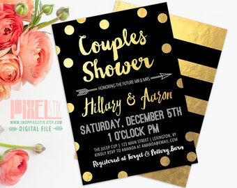 Couples Shower Invitation, Confetti Couples Shower Invite, Gold Foil Invitation, Black and Gold Invitation, DIY Printable