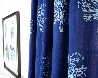 "Window curtains SAMPLE SALE SINGLE  44""x96""  Indigo blue curtains bedroom living - hand block printed - Cotton - Home and Living - Tree"