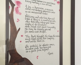 Personalised Poem with a tree watercolour design on the side