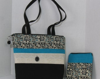 """Tote Bag Purse with Pockets Zipper Coordinating Cosmetic Bag Dreamcrafters Turtle Black Blue 14"""" Wide 12"""" Tall"""