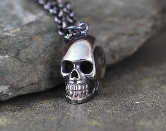 Skull Pendant - Skull Necklace  - Sterling Silver Necklace - Pirate Jewellery - Biker - Goth - Jewellery for Men