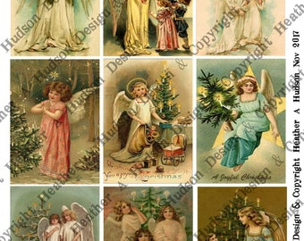 Christmas Anglels altered on Soft Vintage Aqua Cream 4 Sheets 9 images ATC Large Focal Tiny DIY Printable Digital Collage Sheet Victorian