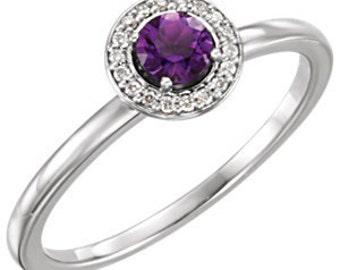 Amethyst Diamond Halo 14K White Gold Ring