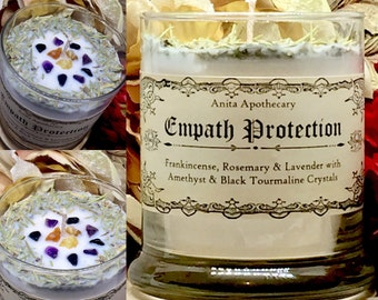 Empath Protection Candle- Banish negativity, Black Tournaline, Amethyst, Witchcraft, Witch, Wicca, Pagan, Spiritual, Magick, Gypsy, Soy wax