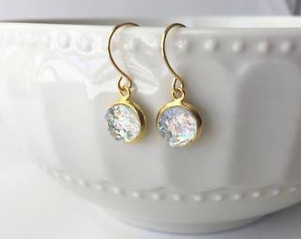Clear Drop Faux Druzy 8mm, Clear Druzy Drop Earring, Clear Sparkle Druzy Drop Earring, Gold Drop Earrings