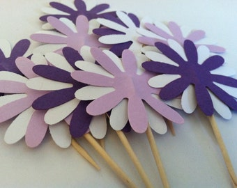 12 purple flower cupcake toppers-appetizer picks
