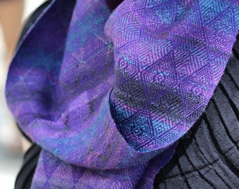 Silk Scarf, Handspun Silk Scarf, Purple, Blue, Scarf, Long scarf, Handwoven Scarf, Gift for Her, Gift for Mom, Soft Scarf, The Korus Line