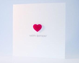 Happy Birthday Card with Pink detachable Heart magnet keepsake
