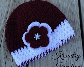 CROCHET Snowflake Hat, Crochet  Hat, Crochet Snowflake Hat, Baby Hat, Toddler Hat, Snowflake Hat, Snowflake Hat (Ready to Ship)