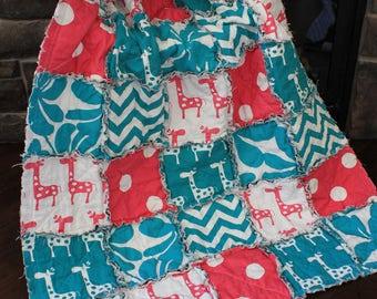 Giraffe Blanket, Pink Teal Nursey, Rag Quilt, Giraffe Nursery, Baby Rag Quilt, Girl Rag Quilt, Pink Giraffe,  Premier Prints, Ready To Ship