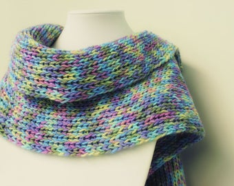 Long Scarf with Fringe-Multi-Colored Scarf-Shawl Scarf-Winter Scarf-Fall Scarf-Hand Knitted Scarf-Knit Scarf-Shoulder Wrap-Wide Scarf