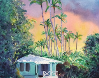 kauai plantation cottage, kauai art, 8x10 prints, hawaii art, hawaiian paintings, kauai giclee, waimea cottages, tropical sunsets, houses