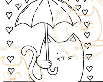 Digi Stamp Instant Download. Puddles Of Kitty Love. Knitty Kitty Digis No. 17