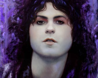"ORIGINAL Marc Bolan painting, 12x12"", oil on canvas"