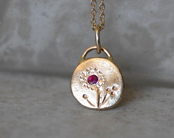 Ruby Necklace - Gold and Ruby Pebble Pendant - Wildflower - Eco-Friendly Recycled Gold