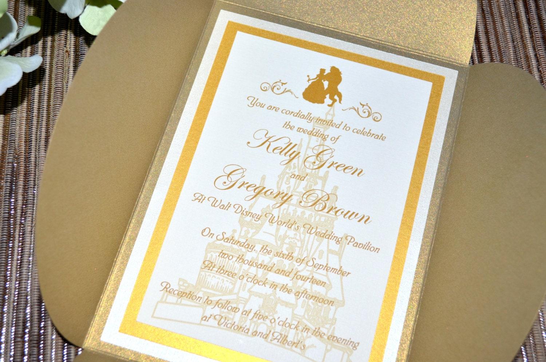 Fairy Tale Wedding Invitations Beauty and the Beast Petal