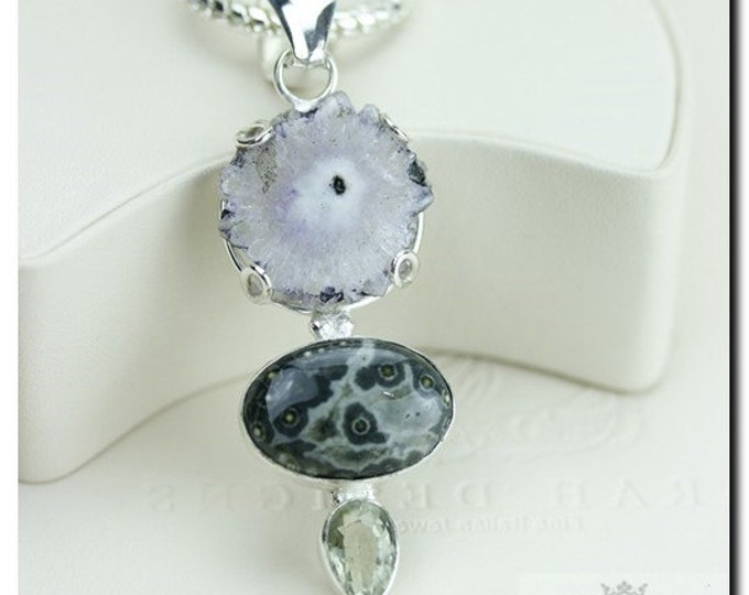 Amethyst Stalactite Ocean Jasper Citrine925 SOLID Sterling Silver Pendant + 4mm Snake Chain & FREE Worldwide Shipping P1851