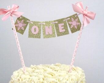 Winter Onederland Cake Topper Girl First Birthday Pink Gold FIrst Birthday Onderland Birthday Pink Gold Cake Topper One Topper Smash Cake