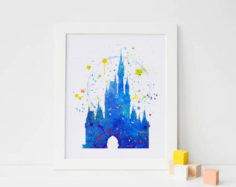 Disney castle, Cinderella's Castle - Watercolor castle home Art Print nursery disneyland poster Castle Poster, Home Baby disneyland wall art