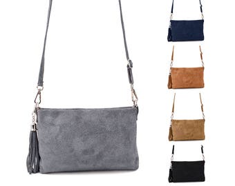 Small leather bag with fringes by ImiLoa suede in grey, camel Brown, black, dark blue, taupe brown shoulder bag genuine leather women